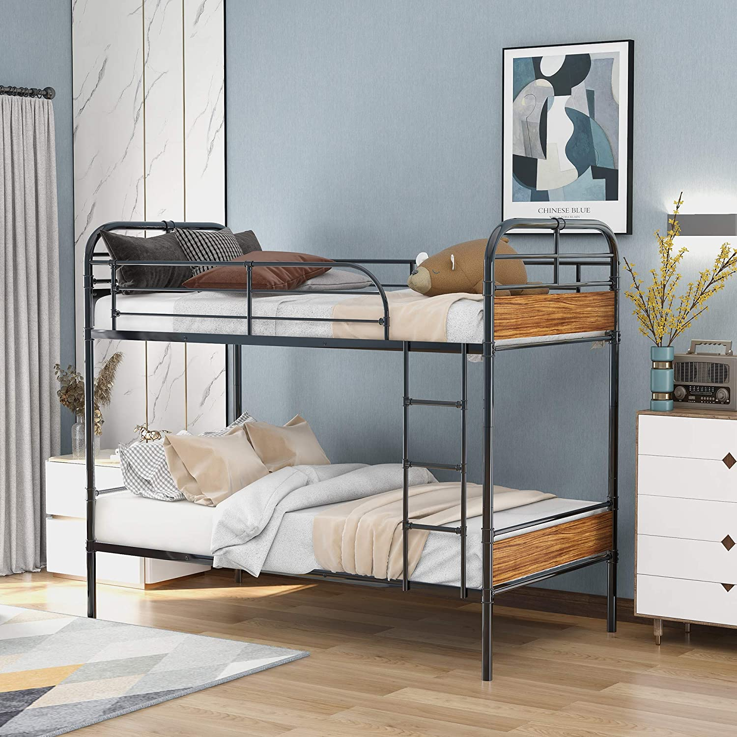 Twin Over Twin Metal Bunk Bed Metal Bunk Bed With Sturdy Steel Frame And Wooden Headboards Convertible To Separate 2 Beds Metal Wood Walmart Com Walmart Com
