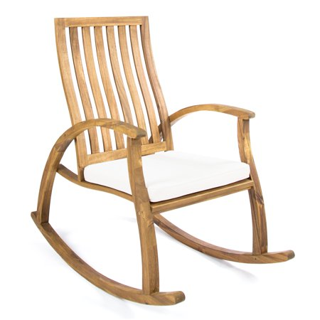 Caleb Outdoor Acacia Wood Rocking Chair with Water Resistant Cushion, Natural Stain and (Stained Acacia Wood Garden Decor)