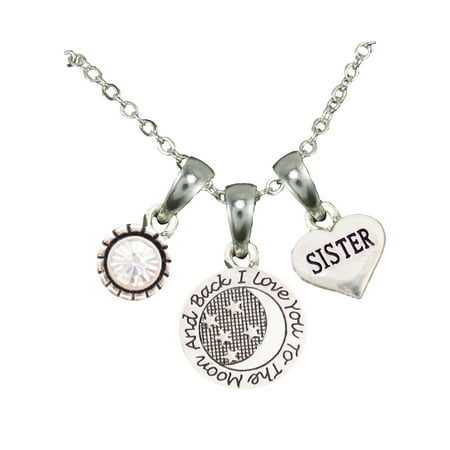 Sister Love You To The Moon Silver Chain Necklace And Charms Jewelry ()