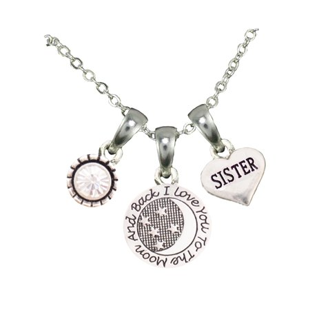 Sister Love You To The Moon Silver Chain Necklace And Charms Jewelry