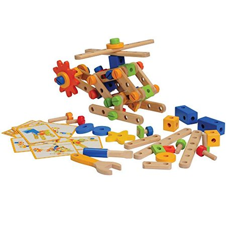 - CP Toys 84 Piece Wooden Nut & Bolt Builder Set with Screwdriver and Activity Cards - 3 Pack