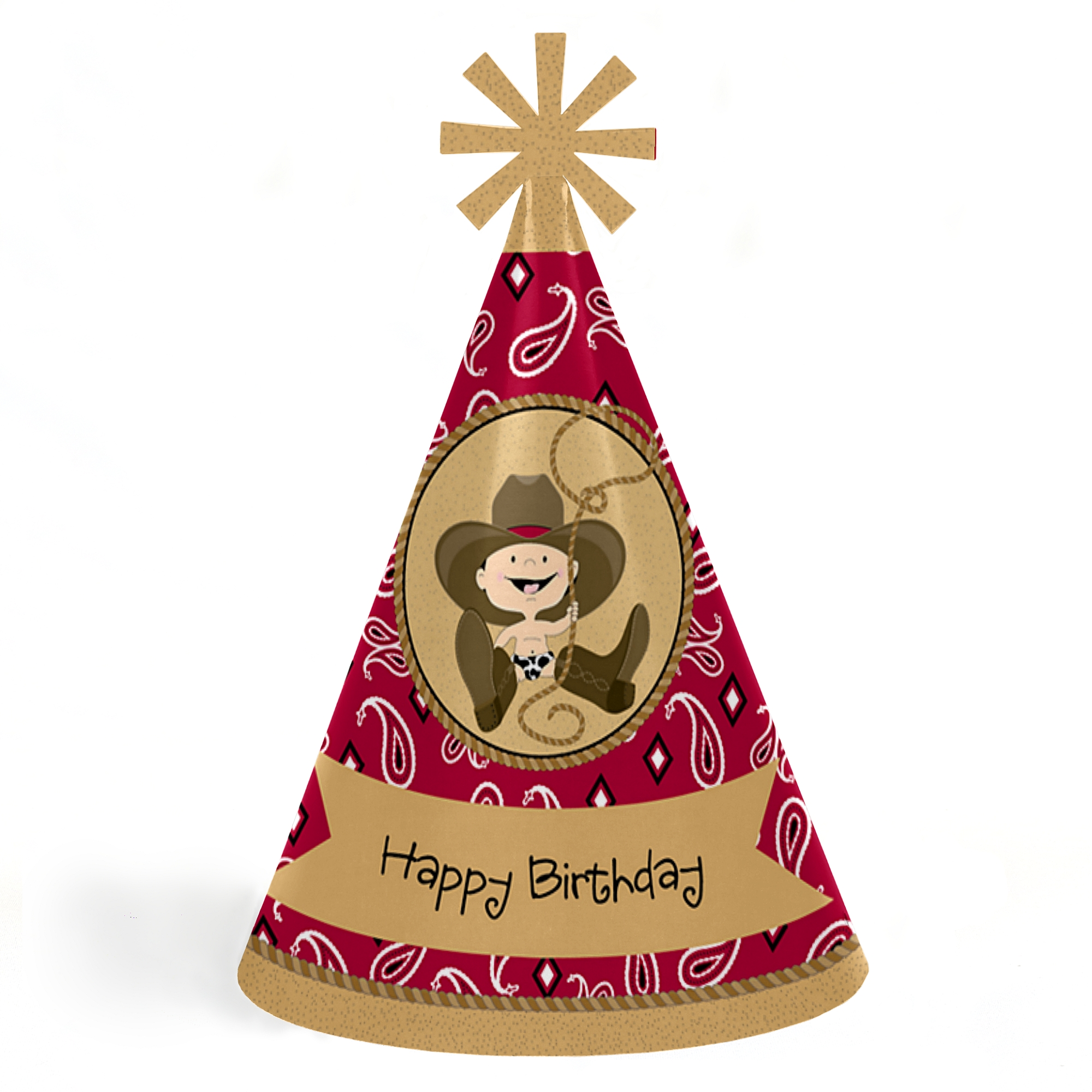 Little Cowboy - Western Cone Happy Birthday Party Hats for Kids and Adults - Set of 8 (Standard Size)