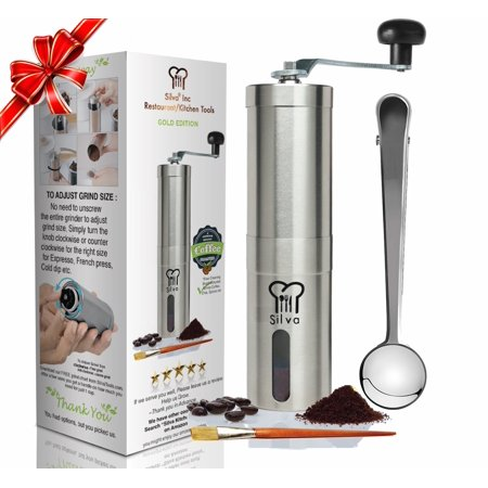 Silva Manual Coffee Grinder ,  Hand Coffee Bean Grinder - Conical Burr Mill - Perfect for Aeropress, Turkish Beans, Espresso, French Press, and More - Comes with Scoop and
