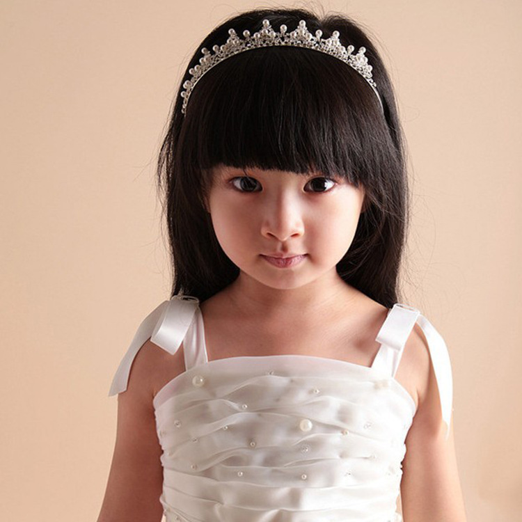 Simplicity Kid's Wedding Party Tiara w/ Pearl Crystal Rhinestones  Silver
