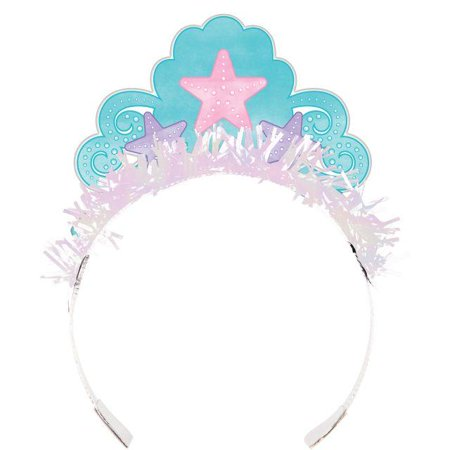 Creative Converting Iridescent Mermaid Party Tiaras, 8 ct