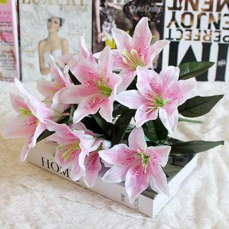 10 Heads Artificial Fake Silk Lilies Flower Bridal Bouquet Wedding Party Decor