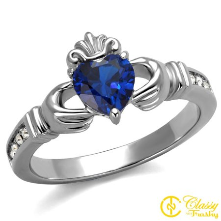 Classy Not Trashy® Hand Heart Crown Design Blue Synthetic Stainless Steel Women