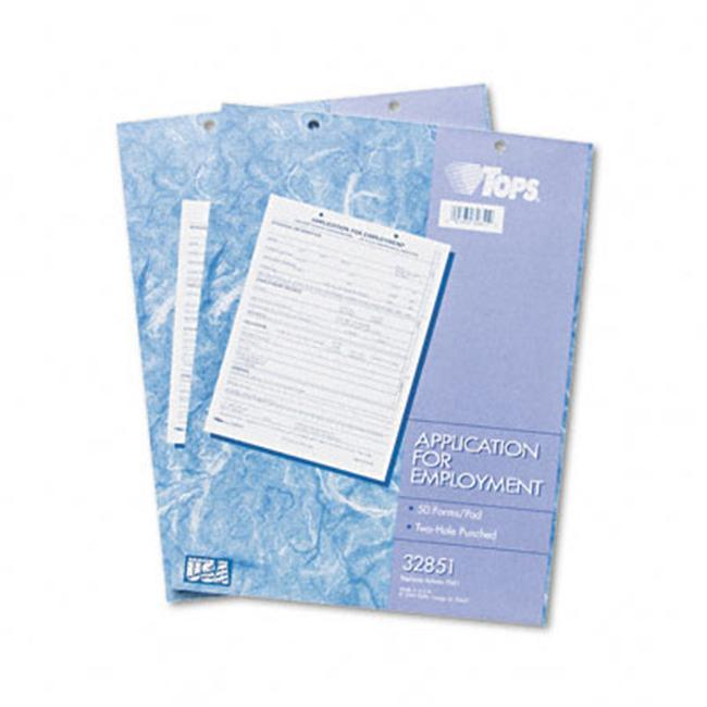 Tops 32851 Application for Employment  8-1/2 x 11  Two 50-Form Pads Pack - image 1 of 1