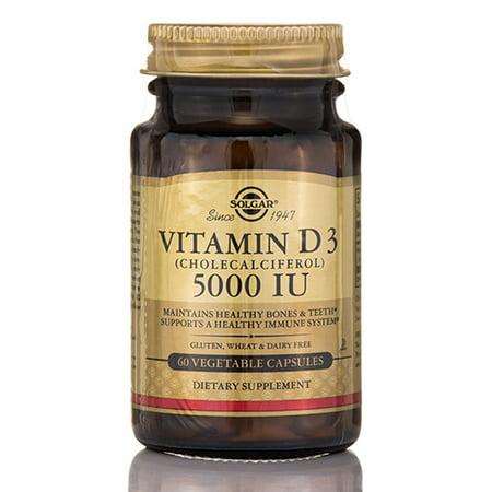 La vitamine D3 (cholécalciférol) 5000 UI - 60 capsules végétales par Solgar vitamine A