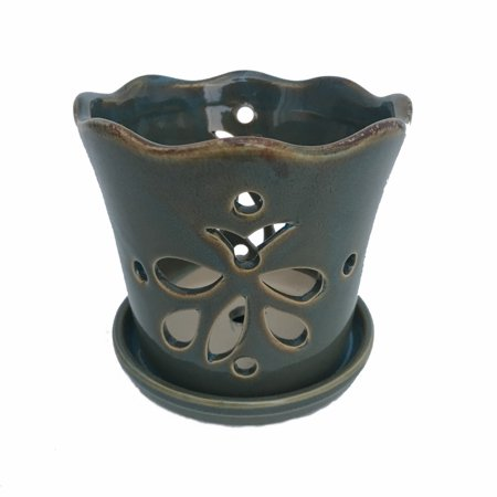 Butterfly Ceramic Orchid Pot/Saucer 8