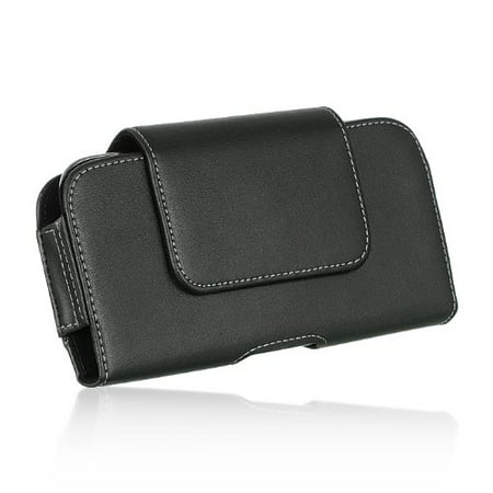 Samsung S6 G920 ~ EXTRA LARGE Horizontal Leather Pouch Carrying Case Holster Belt Clip Magnetic Closure Fits - Swivel Black (Fit Clip)