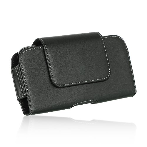 Samsung Galaxy S6 Edge G925 ~ EXTRA LARGE Horizontal Leather Pouch Carrying Case Holster Belt Clip Magnetic Closure Fits - Swivel Black