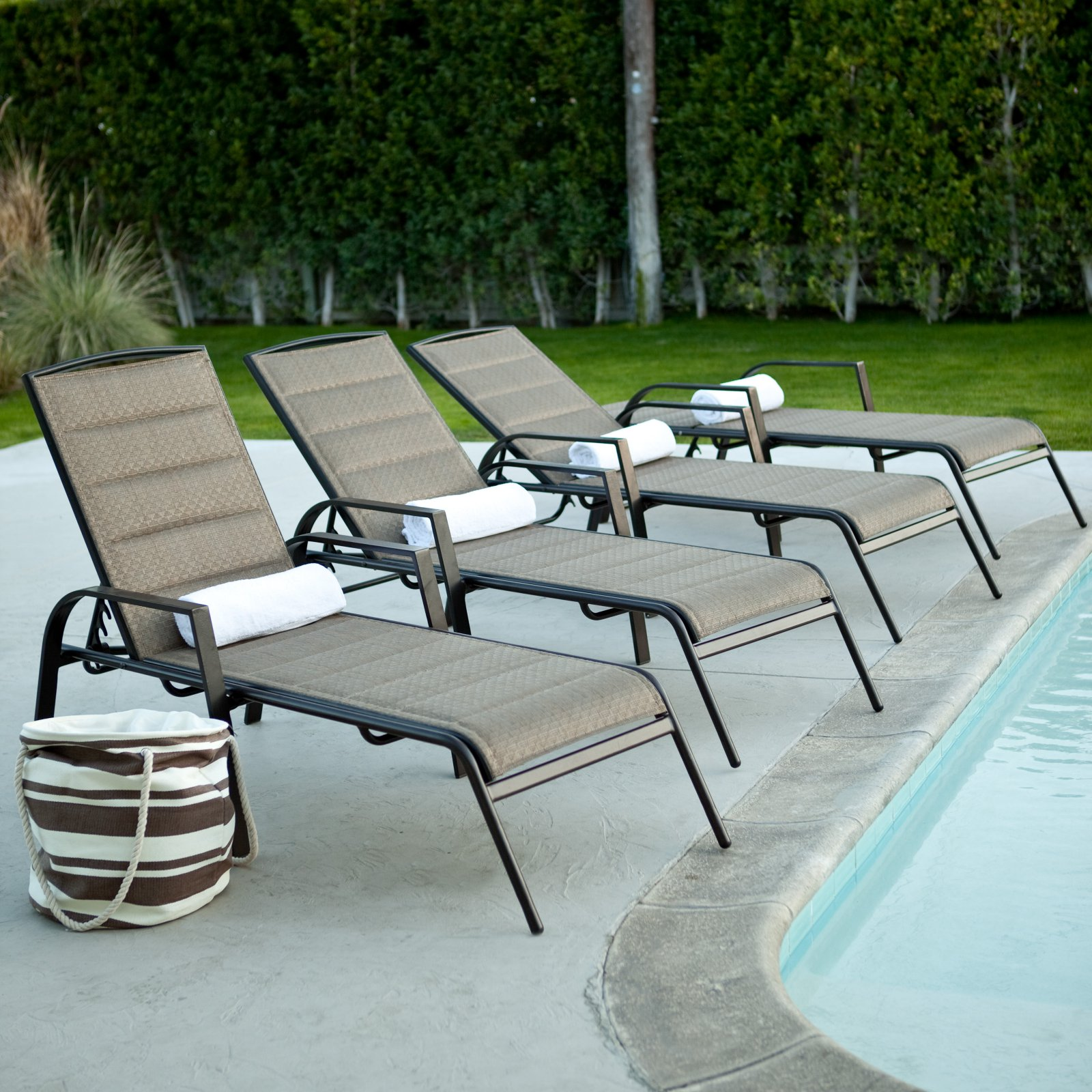 Coral Coast Del Rey Padded Sling Chaise Lounges - Set of 2