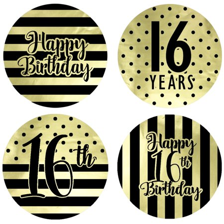 Gold Foil 16th Birthday Favor Labels 60ct - Sweet 16 Black and Gold Stripe and Polka Dot Birthday Party Supplies - 60 Count Stickers (1 3/4 inch)