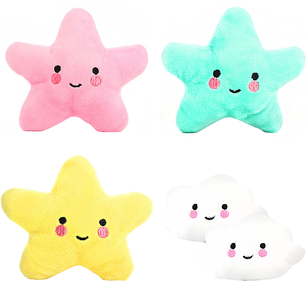 Girl12Queen Soft Pet Star Cloud Funny Chew Play Squeaker Squeaky Cute Plush Sound Toy