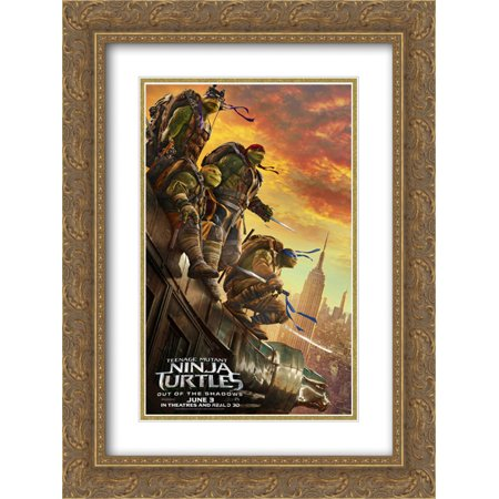 Teenage Mutant Ninja Turtles 18x24 Double Matted Gold Ornate Framed Movie Poster Art Print - The Gold Ninja