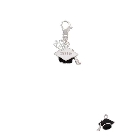 Silvertone 3-D Graduation Hat with 2019 - 2019 Clip on Charm - Graduation Charms