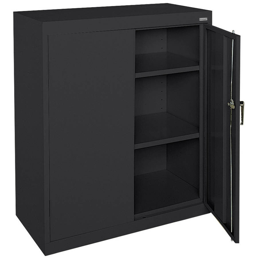"Classic Series 36""W x 42""H x 24""D Counter Height Storage Cabinet with Adjustable Shelves, Black"
