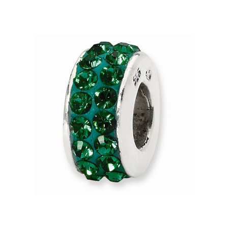 Sterling Silver Reflections Green Double Row Swarovski Elements Bead