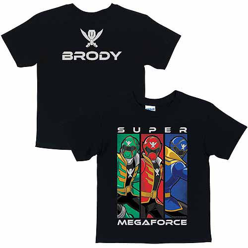Personalized Power Rangers Super Mega Style Boys Black T-Shirt