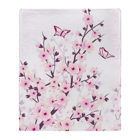 "CafePress - Cherry Blossoms And Butterflies - Soft Fleece Throw Blanket, 50""x60"" Stadium Blanket"