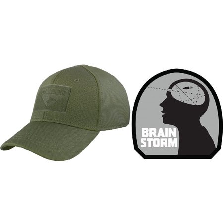 ba0bf0c9f6b Condor Flex OD GREEN Cap Small Medium + BRAIN STORM PATCH GREY - Walmart.com