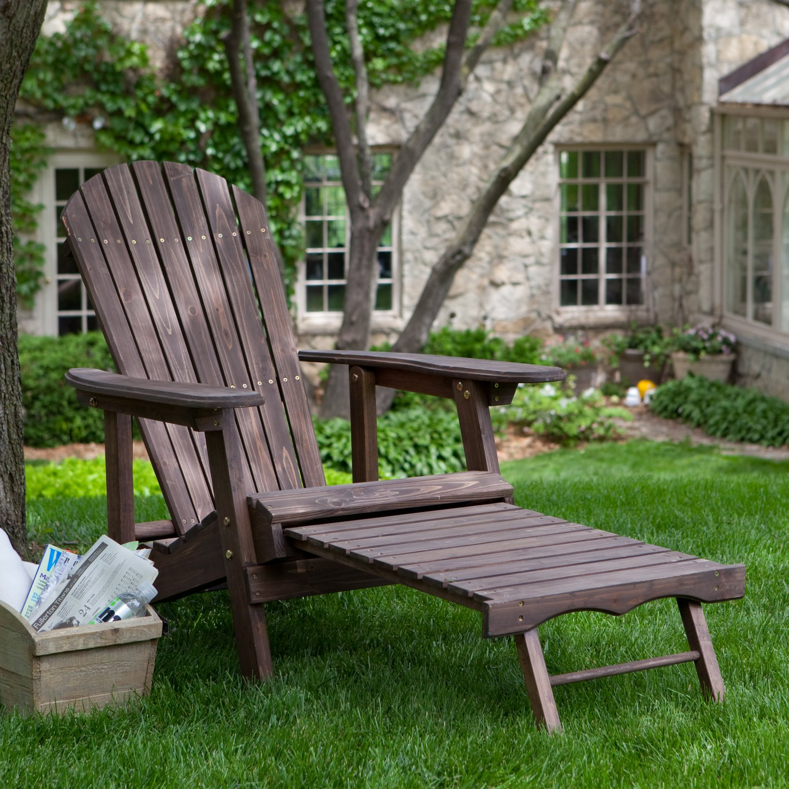 Coral Coast Big Daddy Reclining Adirondack Chair with Pull-Out Ottoman - Dark Brown