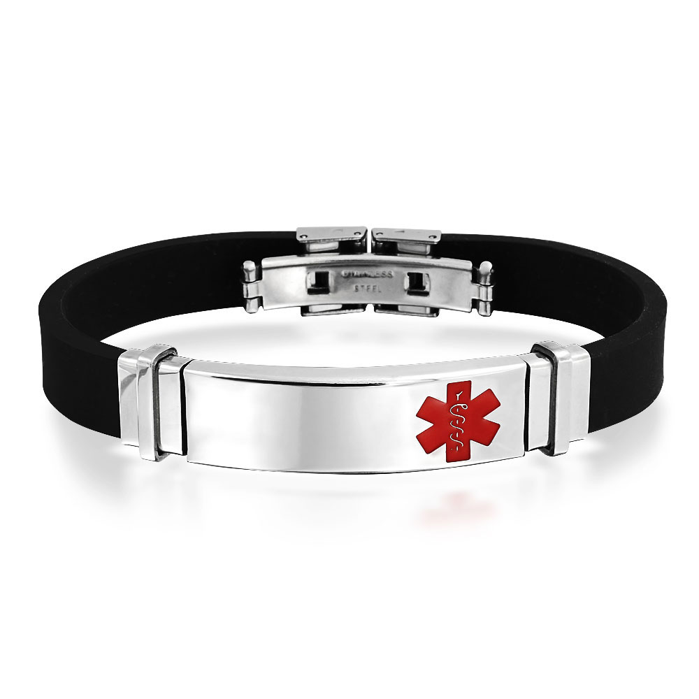 Bling Jewelry Mens Black Rubber Stainless Steel Medical Alert Id Bracelet