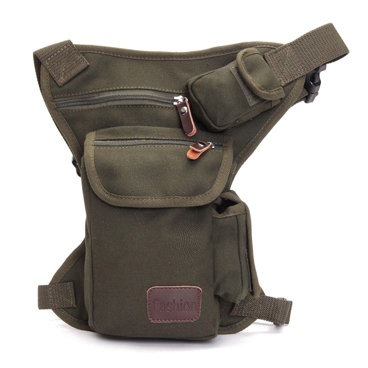 cacdb110e837 Men's Canvas Outdoor Hiking Motorcycle Riding Tactical Utility Waist Belt  Bag & Drop Leg Fanny Pack Sports Travel Canvas Tactical Army Money Belt Bag  ...