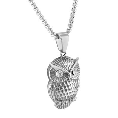 White Gold Town Owl Pendant Solitaire Lab Diamonds Free Chain Stainless Steel