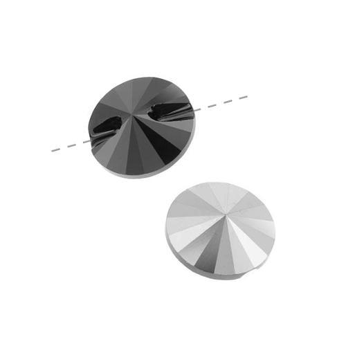 Swarovski Crystal, #3015 Rivoli Button 12mm, 2 Pieces, Jet Hematite Unfoiled