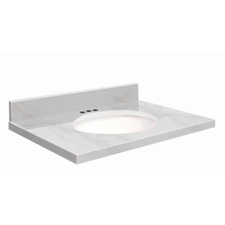 Transolid Natural Marble 43 X 22 Bathroom Vanity Top With Eased Edge 4 Centerset And White