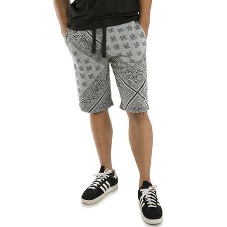 Vibes Men's Grey Fleece Bandanna Printed Active Short 13