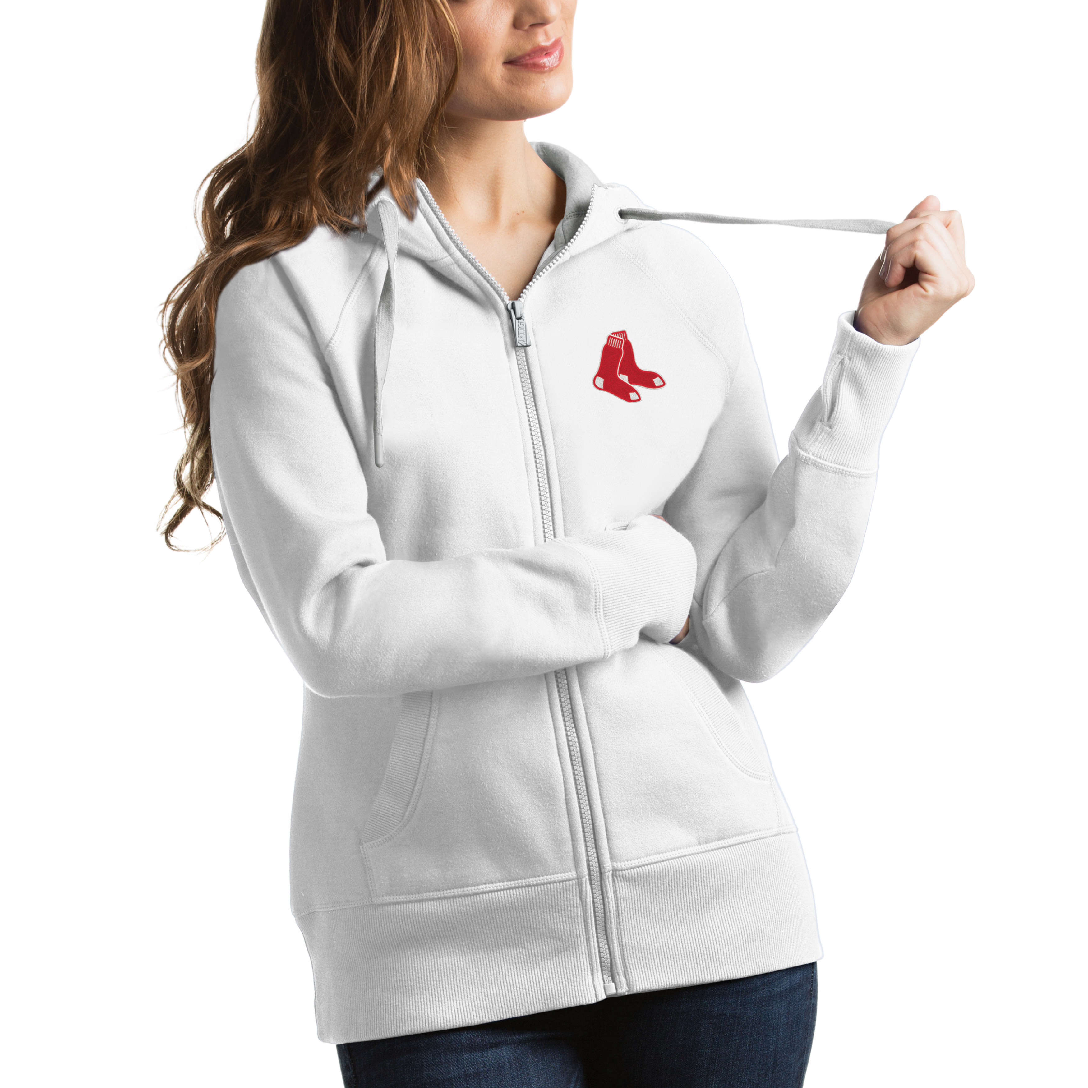 Boston Red Sox Antigua Women's Victory Full-Zip Hoodie - White