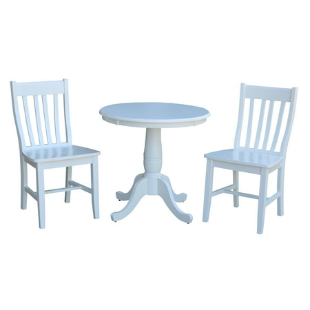 Enjoyable 30 Round Dining Table With 2 X Back Dining Chairs In White 3 Piece Set Ibusinesslaw Wood Chair Design Ideas Ibusinesslaworg