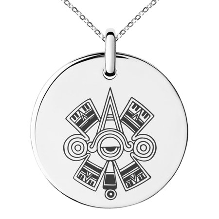 Stainless Steel Aztec Ollin Third Eye Rune Engraved Small Medallion Circle Charm Pendant Necklace - Eye Medallion Necklace