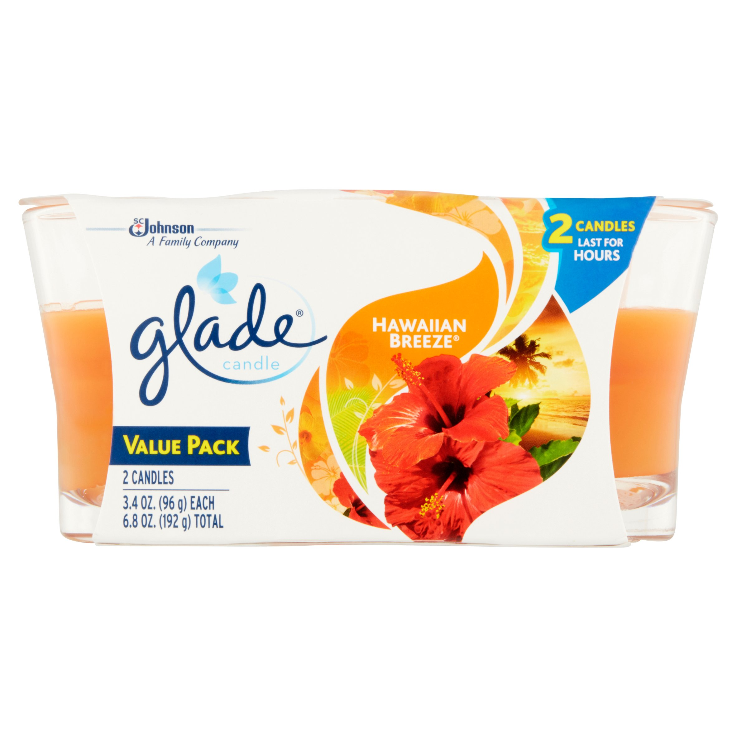 SC Johnson Glade Hawaiian Breeze Candles Value Pack, 3.4 oz, 2 pack