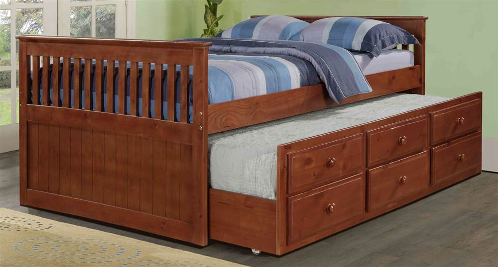 Full Trundle Bed in Light Espresso Finish by Pivot Direct Inc