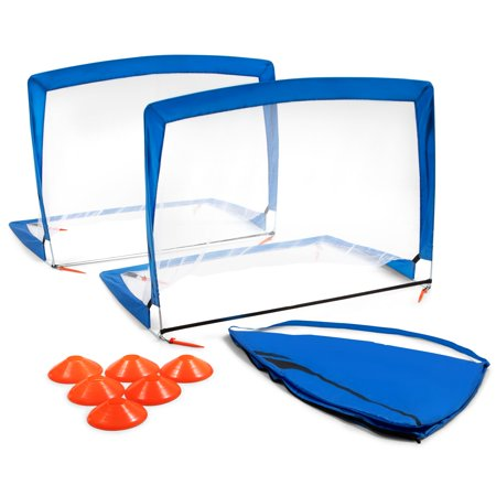 Training Equipment Pair of 4 Foot Pop Up Soccer Goals with Disc Cones,