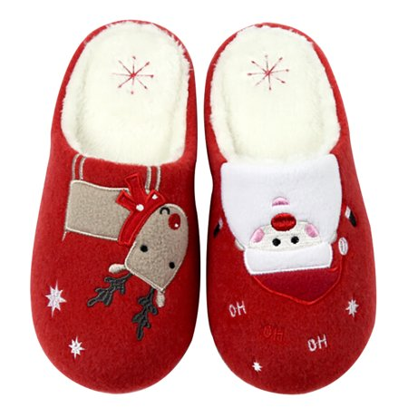 House Slippers, Coxeer Christmas Slippers Anti-skid Reindeer Snowman Printed Warm Winter Shoes Slippers for Couples and Lovers