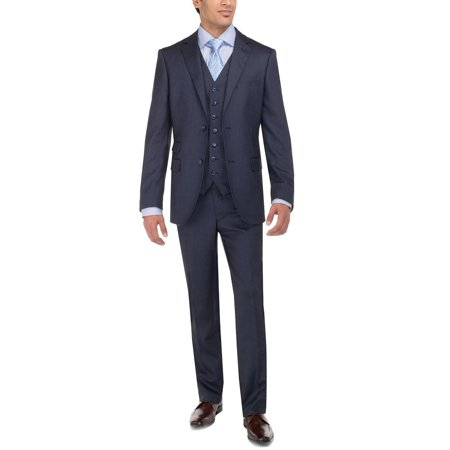 2 Piece Tweed (LN LUCIANO NATAZZI Men's Tweed Vested Suit Set Two Button Modern Fit Three Piece)