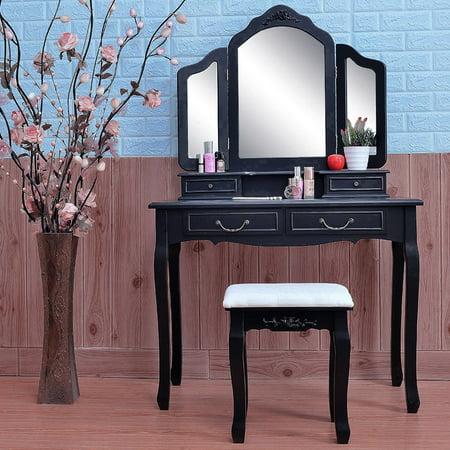 Zimtown Tri Folding Mirror Wood Vanity Set Bedroom