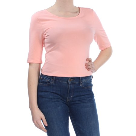 - GUESS Womens Coral Cutout Scoop Neck Top  Size: L