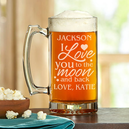 Personalized Love You to the Moon and Back Beer Mug, 25 oz Clear Glass Beer Mug