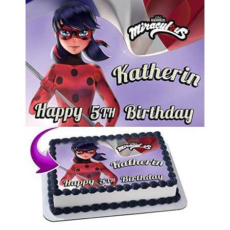Ladybug Cake Toppers (Miraculous Tales of Ladybug Edible Cake Topper Personalized Birthday 1/2 Size Sheet Decoration Party Birthday Sugar Frosting Transfer Fondant)