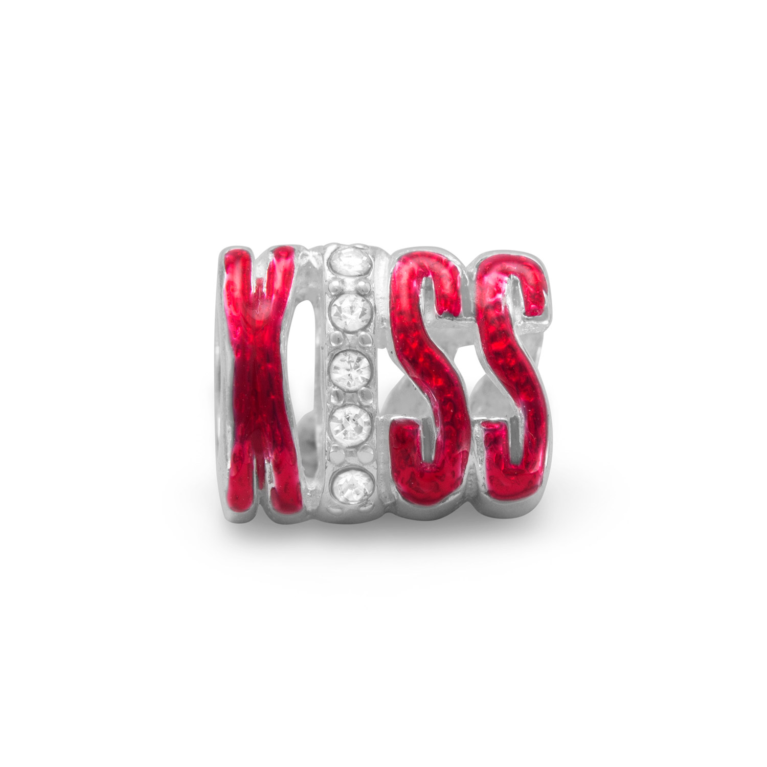 Sterling Silver and Red Epoxy Two Sided Kiss Story Bead C...