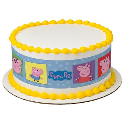 Peppa Pig George Mummy Daddy Edible Cake Border Decoration