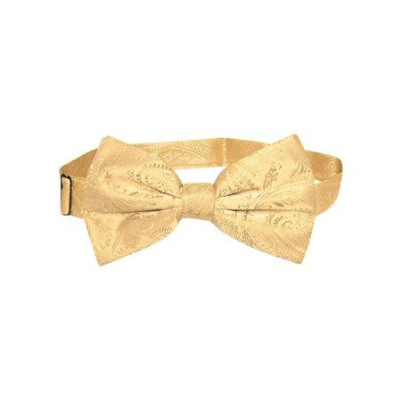 Vesuvio Napoli BOWTIE Gold Color Paisley Color Men's Bow Tie for Tuxedo or (Gold Bow Tie)