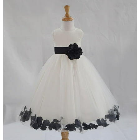 Flower Girls Dresses (Ekidsbridal Formal Poly Satin Rose Petals Tulle Ivory Flower Girl Dress Bridesmaid Wedding Pageant Toddler Recital Easter Communion Graduation Reception Ceremony Birthday Baptism Occasions)