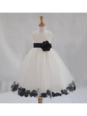 0c270295f411 Product Image Ekidsbridal Formal Poly Satin Rose Petals Tulle Ivory Flower  Girl Dress Bridesmaid Wedding Pageant Toddler Recital